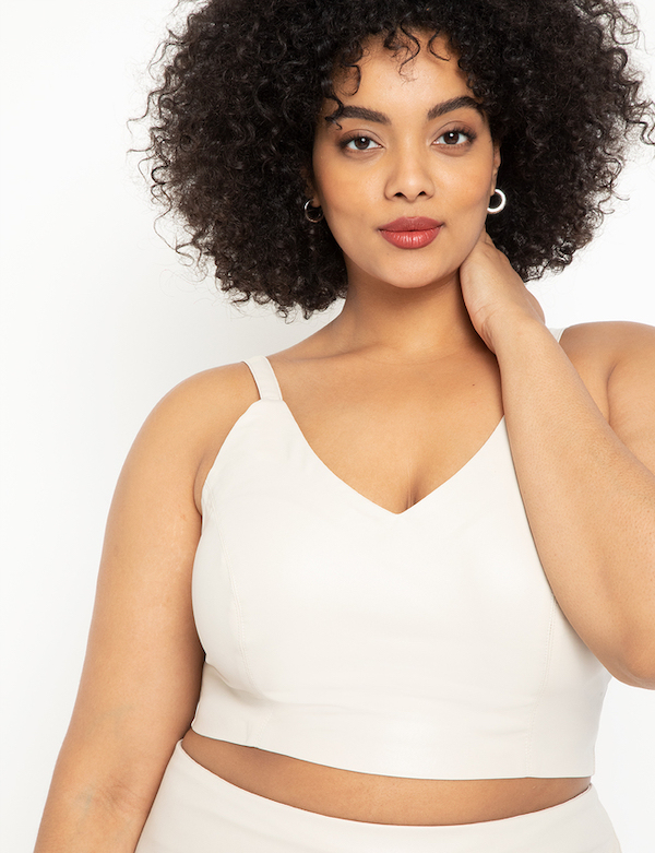 Faux Leather Crop Top in Cream