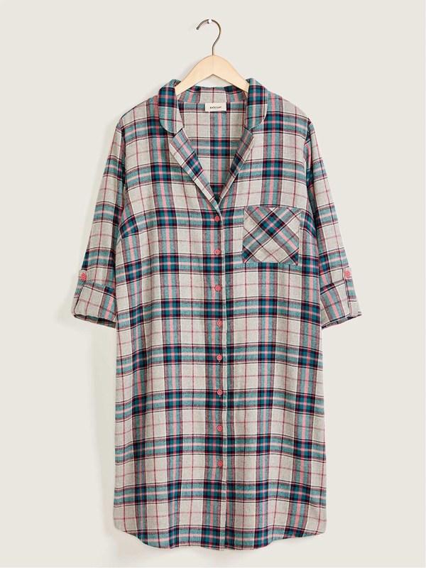A plus-size plaid pajama dress.