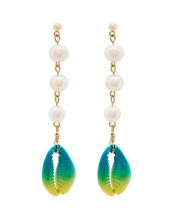 Beaded drop earrings with white pearls and teal and yellow shells