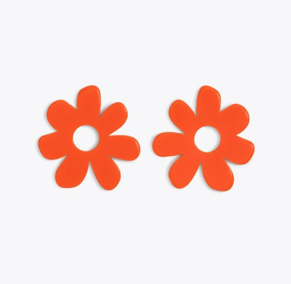 Statement earrings shaped like retro orange flowers