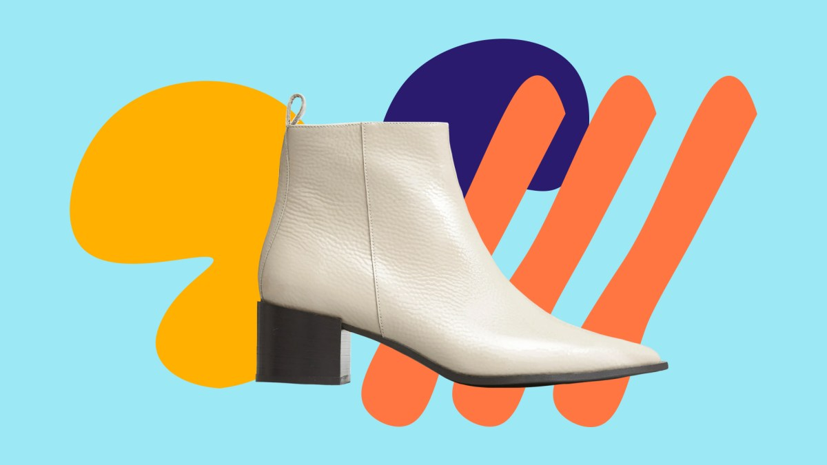 A white pointed-toe patent leather ankle boot juxtaposed with colorful graphic elements
