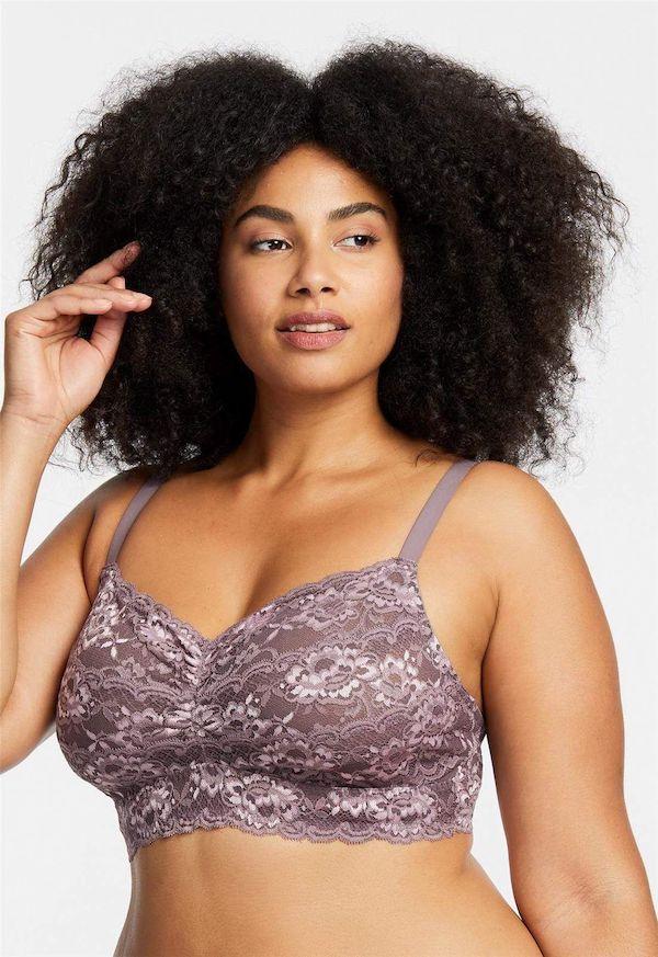 A model wearing plus-size lingerie.