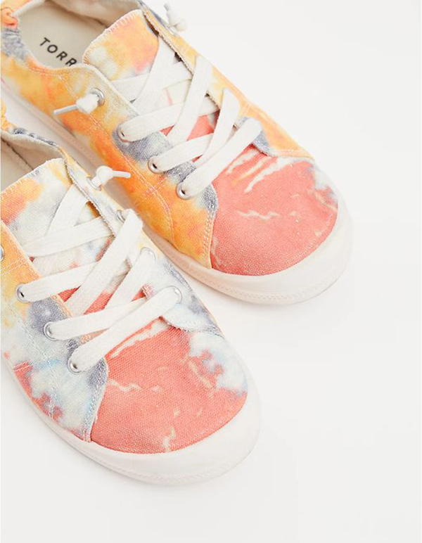 A pair of tie-dye sneakers.