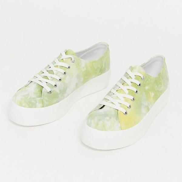 A pair of tie-dye green sneakers.