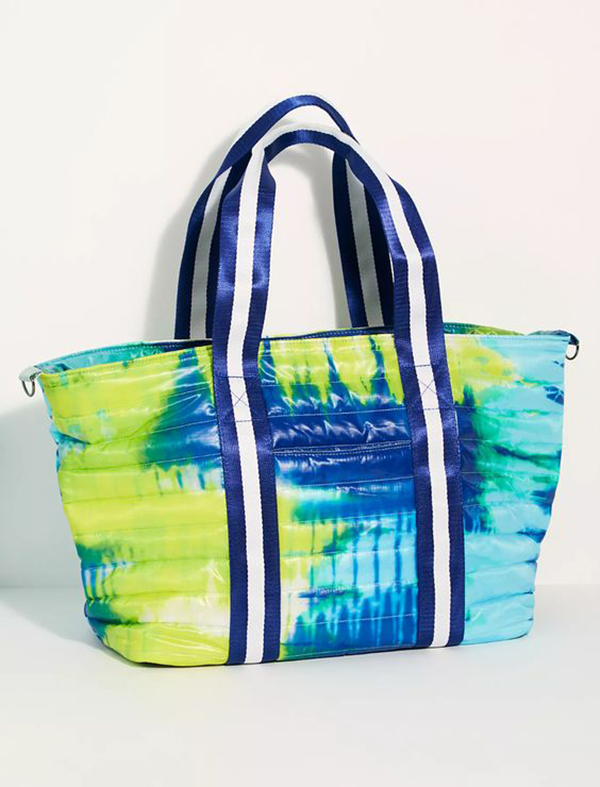 A blue and green tie-dye tote bag.