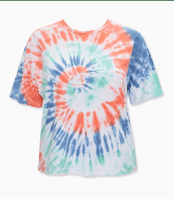A plus-size tie-dye T-shirt.