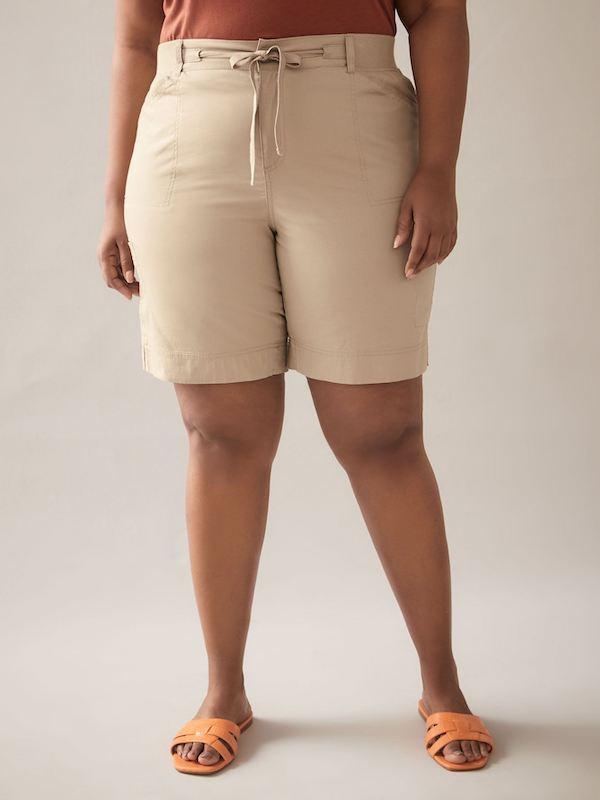 light khaki bermuda shorts