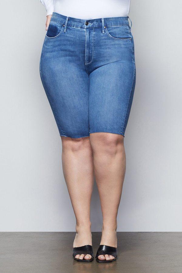 mid-wash denim bermuda shorts
