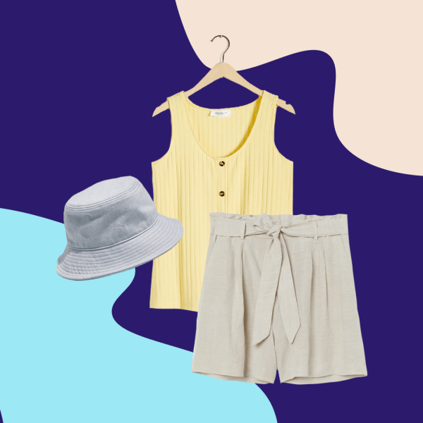 chambray bucket hat, light yellow tank, khaki shorts