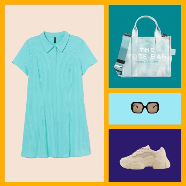 A blue tennis dress, tote bag, black sunglasses, and cream sneakers.