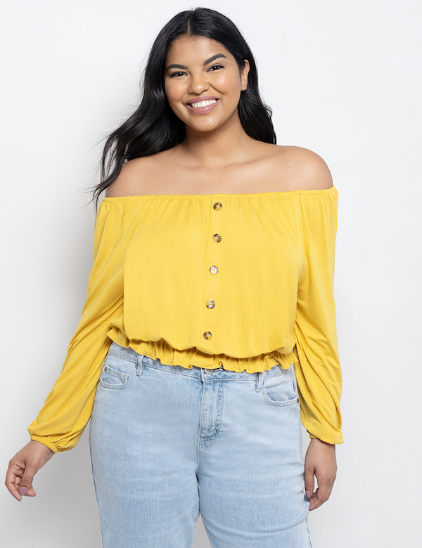 mustard yellow off shoulder long-sleeve top