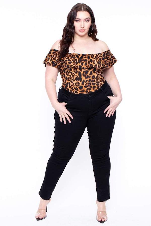 off shoulder leopard print bodysuit