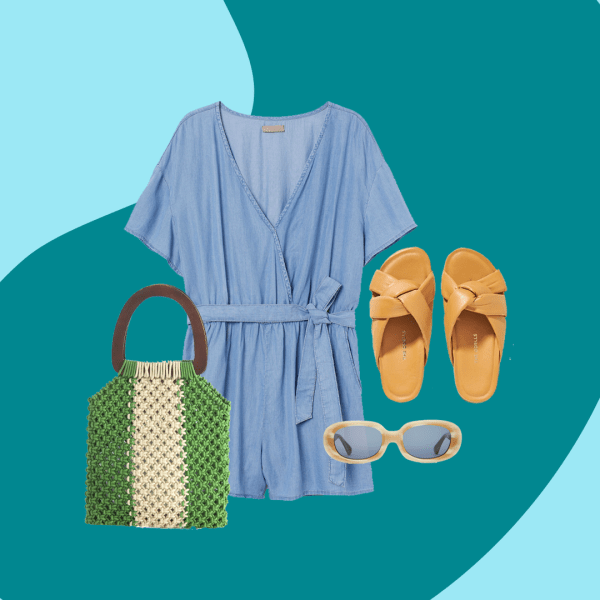 A collage of a woven green bag, denim romper, tan sandals, and light brown sunglasses.