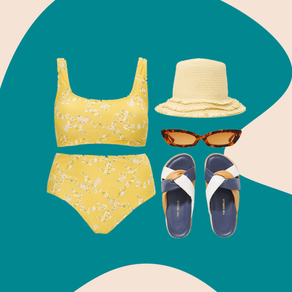 A collage of yellow floral bikini, straw bucket hat, tortoise sunglasses, and puffy slide sandals.