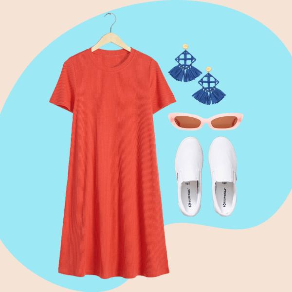 red short sleeve dress, blue earrings, light pink sunglasses, white slip on sneakers