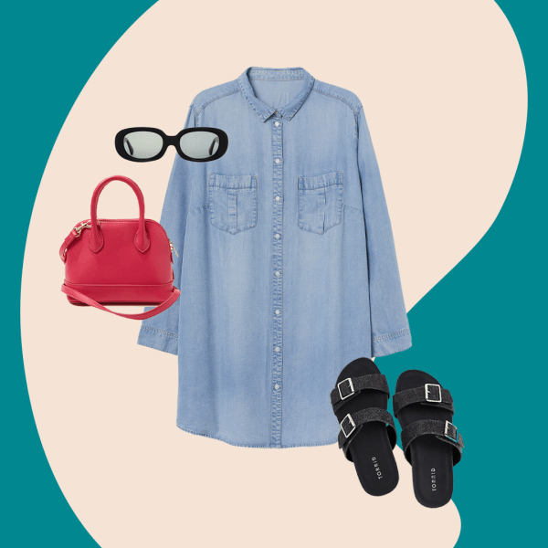 denim dress, pink purse, black sunglasses, black sandals