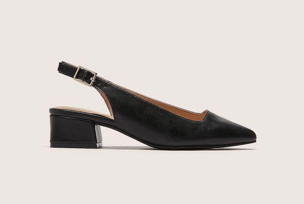 A black slingback heel.