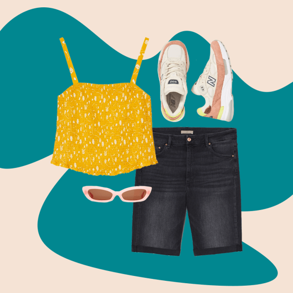 A collage with a mustard tank top, denim Bermuda shorts, pink sunglasses and sneakers.