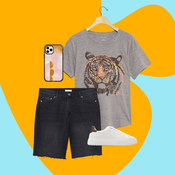A collage with dark denim Bermuda shorts, a t-shirt with a tiger on it, white sneakers, and an abstract phone case.