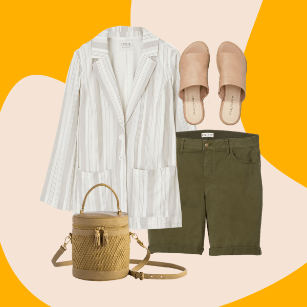 A collage with a striped linen blazer, green Bermuda shorts, blush pink sandals, and a brown woven bag.