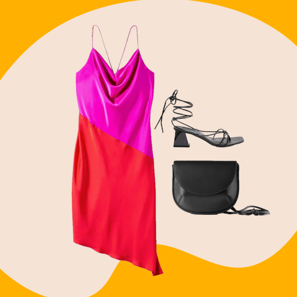 Collage of a pink and red slip dress, back heels, and a black purse.