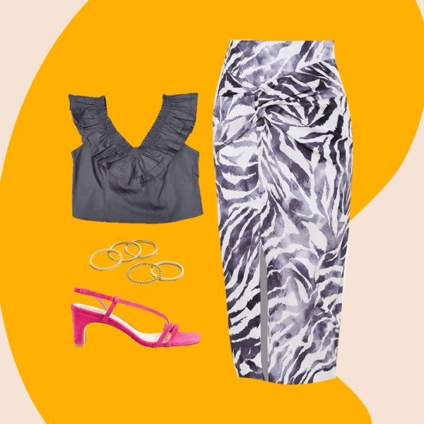 A collage of a zebra print skirt, dark gray ruffly top, pink heels, and gold rings.