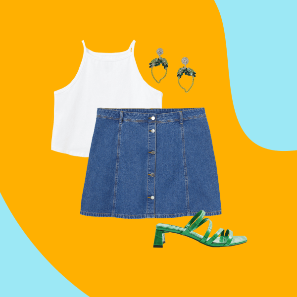 A collage of a white tank top, denim mini skirt, green heels, and green and gold dangly earrings.