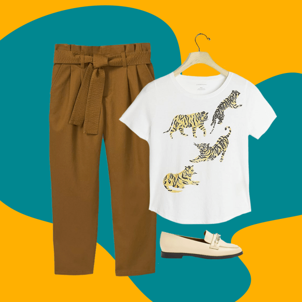 A collage with brown trousers, a graphic tee, and white mule shoes.