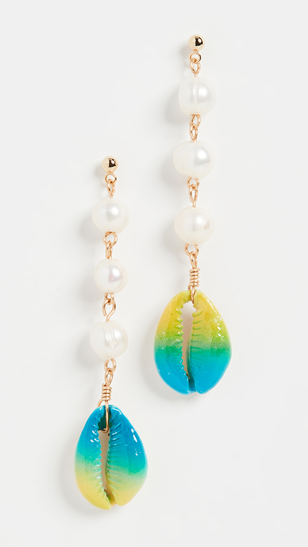 Pearl drop earrings with shells dip-dyed aqua and yellow.
