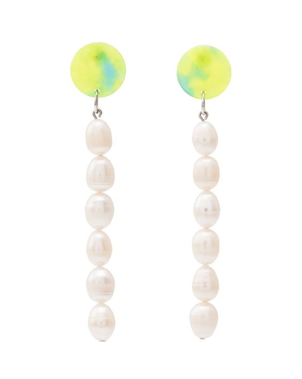 Two yellow and blue drop earrings with strings of pearls hanging from them.