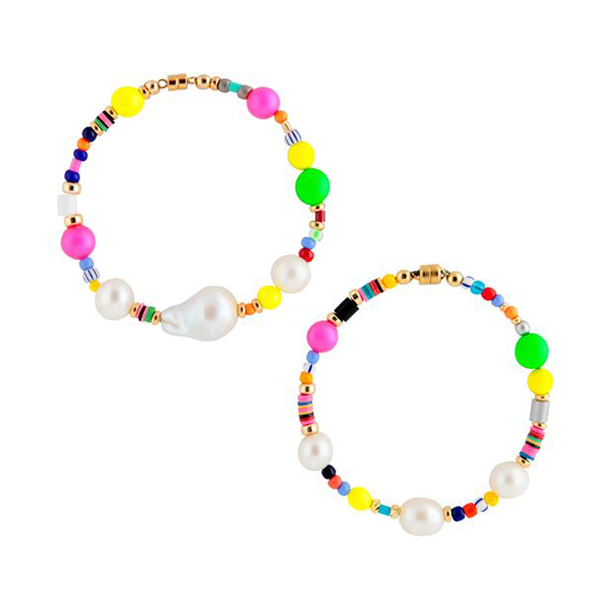 Two rainbow beaded bracelets with pearls on them.
