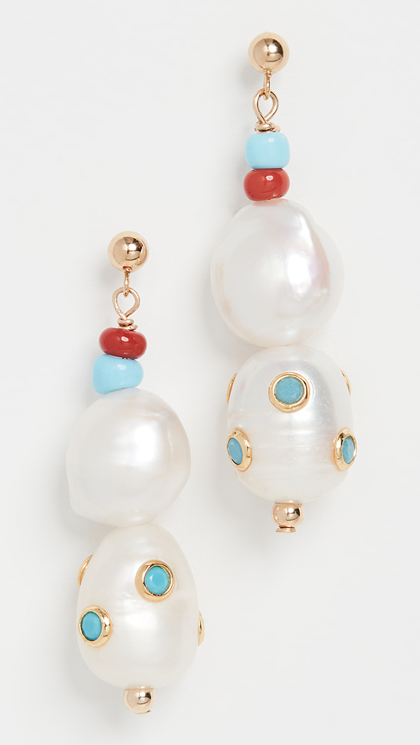 Beaded pearl drop earrings.