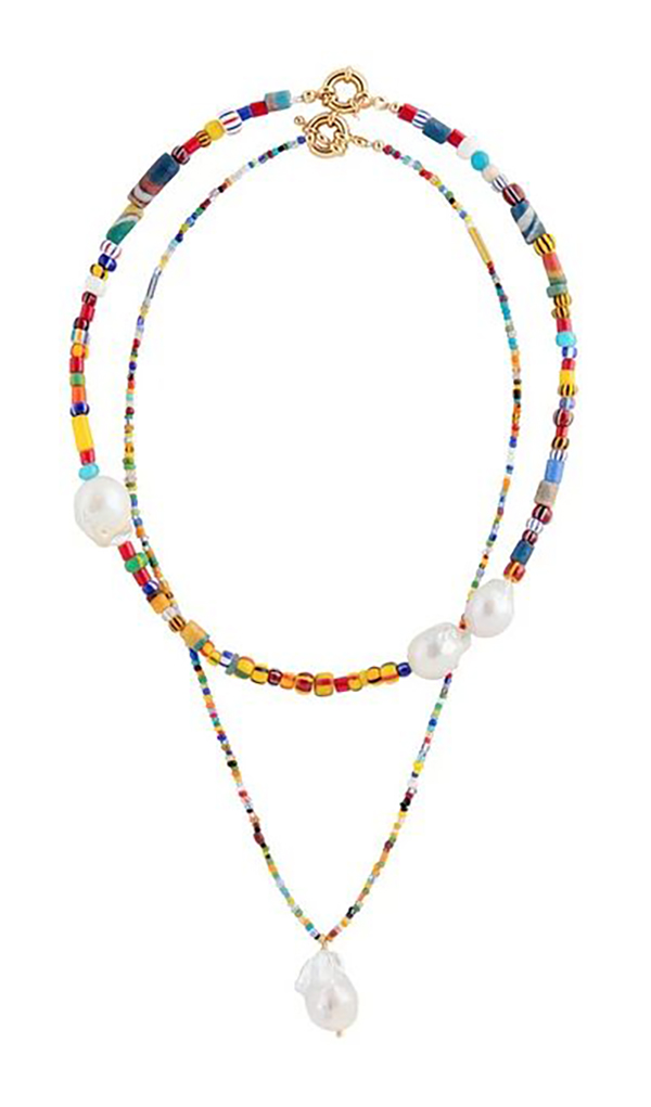 Layered rainbow beaded and pearl necklace.