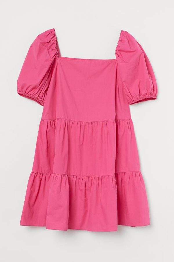 A plus-size hot pink babydoll dress.