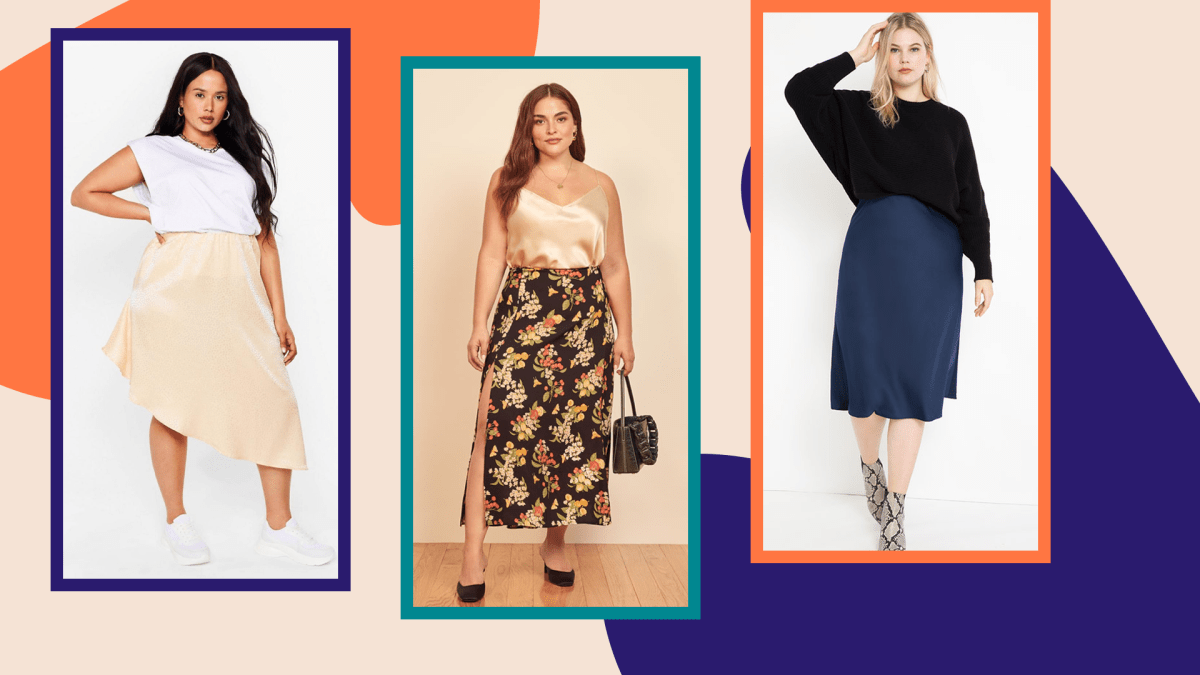 Three plus-size models wearing satin slip skirts on a graphic background.