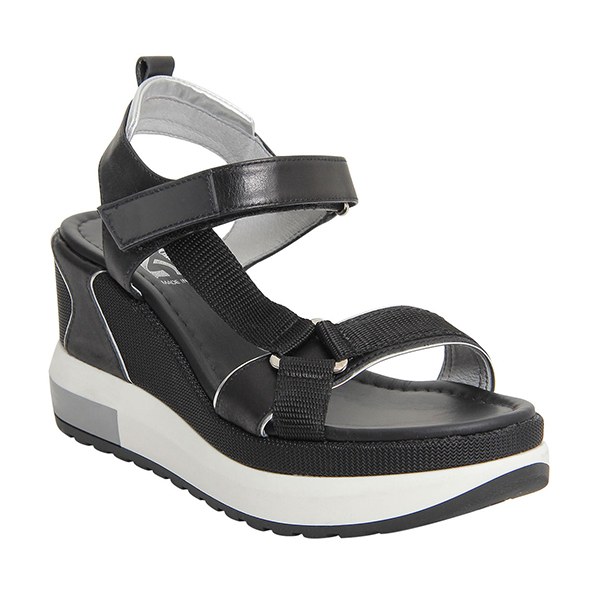 A black sneaker sandal wedge.