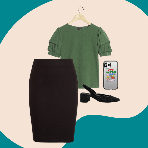 A collage with a black skirt, green top, black heels and a silver phone.