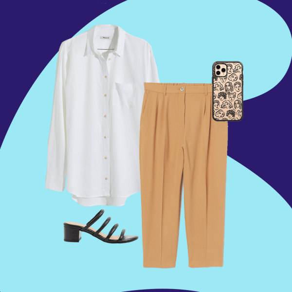 A collage with a white button down, tan pants, a black heeled sandals.