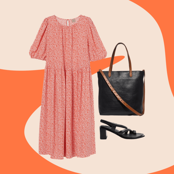A collage with a pink patterned dress, black tote bag, and black heeled sandals.