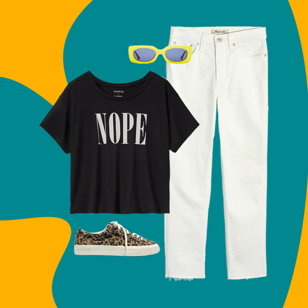 A collage with a black t-shirt, white jeans, leopard sneakers, and green sunglasses.