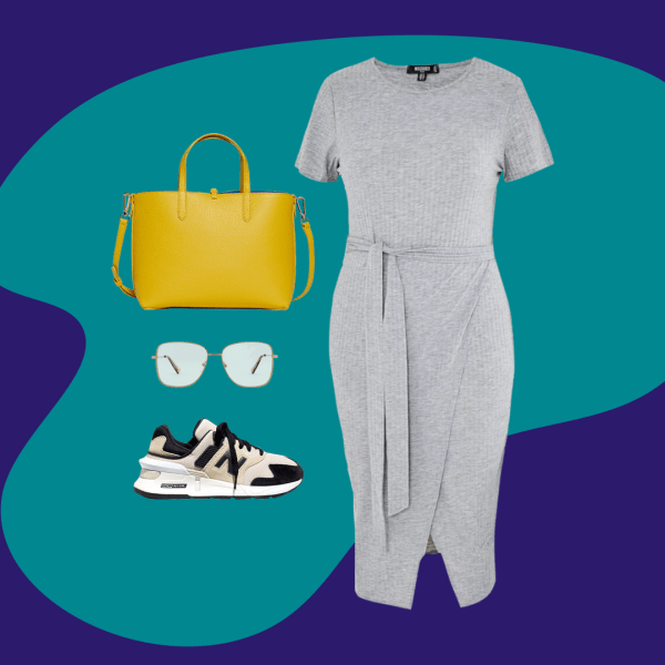 A collage with a gray dress, mustard yellow bag, sneakers, and blue light glasses.