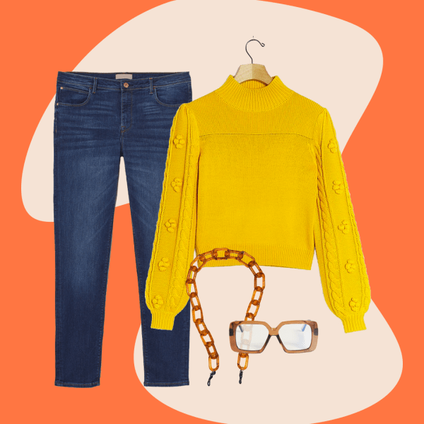 A collage with jeans, a mustard sweater, blue light glasses and glasses chain.
