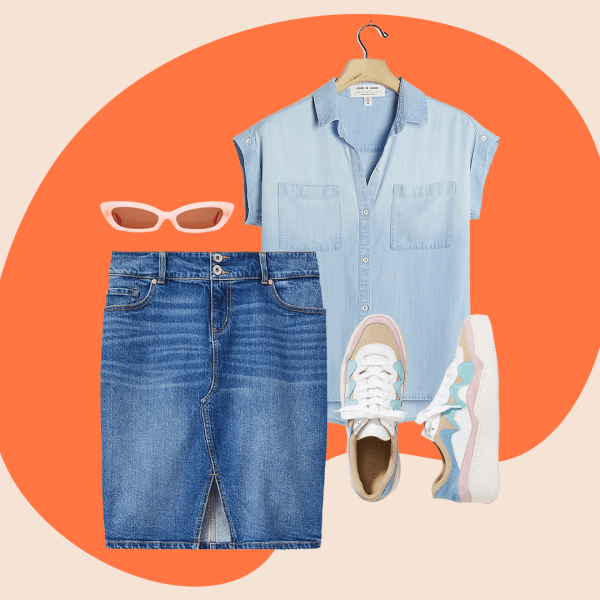 A collage with a plus-size denim skirt, denim shirt, sneakers and pink sunglasses.