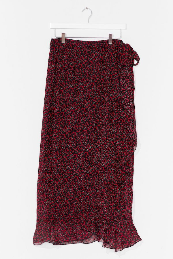 A dark red floral midi skirt.