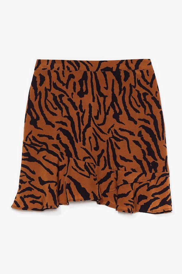 A brown tiger stripe print mini skirt.
