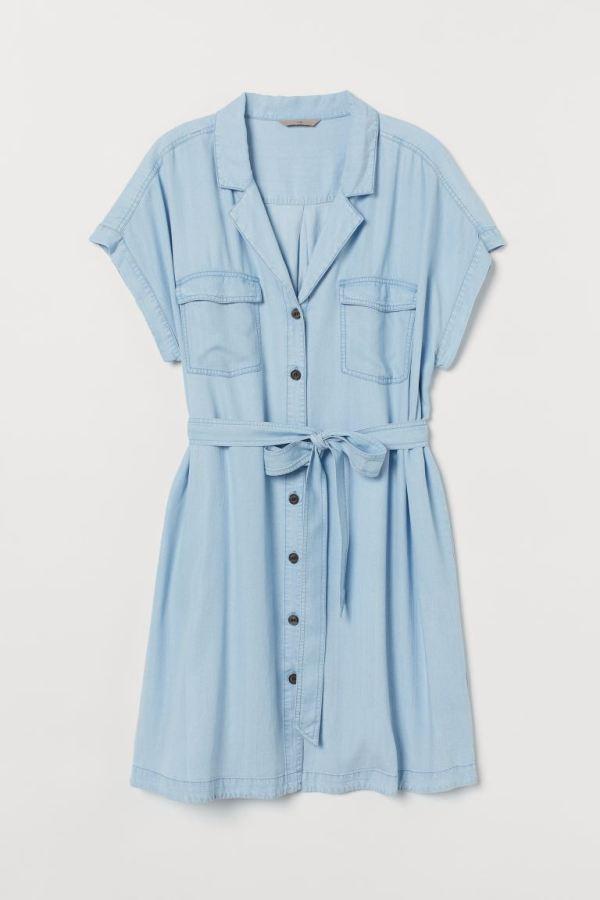 A plus-size denim shirtdress.