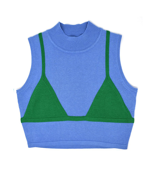A plus-size blue and green knit tank.
