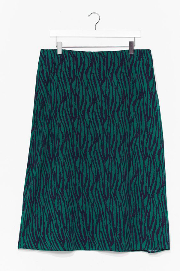 A plus-size animal print midi skirt.