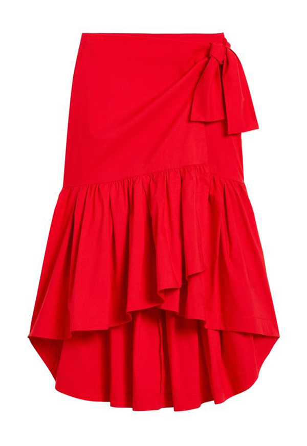 A plus-size red wrap midi skirt.