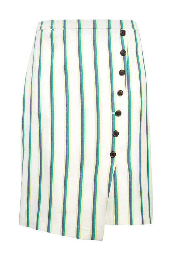 A plus-size striped midi skirt.
